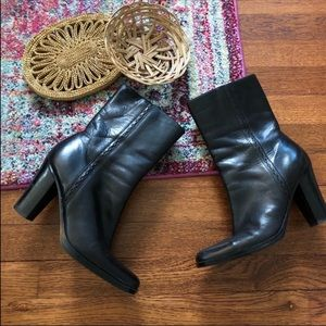 Nine West black leather heeled striker boots